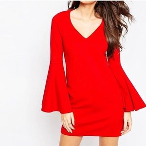 ASOS red dress with flare sleeves